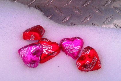 Valentine's Chocolate Hearts in Truck Bed